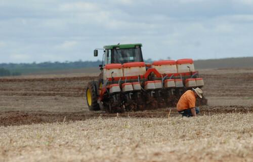 Agricultor conferindo qualidade do solo durante plantio de soja. Foto: Jonas Oliveira/Agência de Notícias do Estado do Paraná