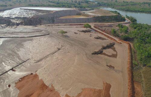 Barragem de mineração. Foto: Secretaria de Meio Ambiente do Mato Grosso