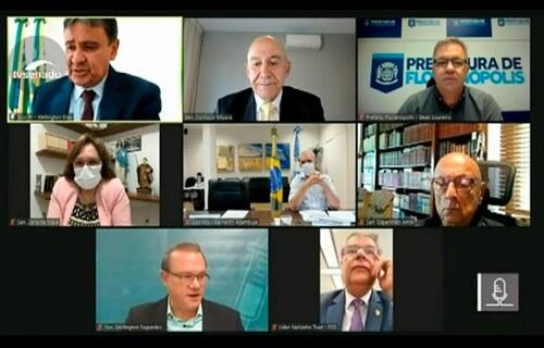 Senadores em reunião remota com governadores e prefeito nesta segunda-feira.  Foto: Agência Senado.