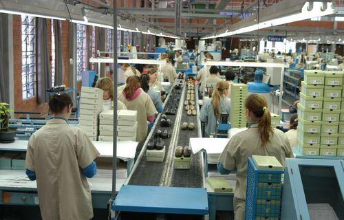 Funcionários trabalham em linha de montagem de fábrica de sapatos. Foto: Miguel Ângelo/CNI