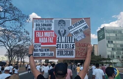 Manifestantes levantam cartazes contra o governo Bolsonaro no domingo (12), em Brasília. Foto: Cristiano Ghorgomillos/Brasil 61